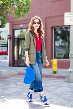 Outfit Ideas, Style Inspiration, Spring Fashion, Lace Up Top, Denim Culottes, Mansur Gavriel Moon Clutch, Aquazzura Rebel Sandals