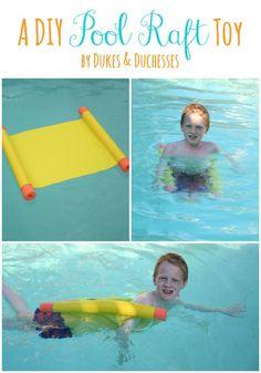 DIY Pool Raft, super fun for summer swimming and relaxing! @rdukes #DIY #poolraft