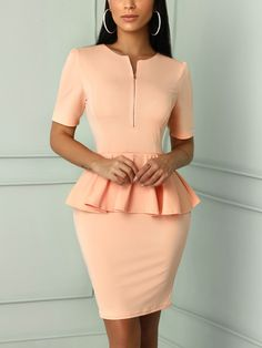 Solid Zipper Up Front Peplum Bodycon Dress (S/M/L/XL) $27.99
