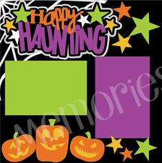 Halloween Scrapbook Page Kit 2-Page 12X12 Premade Scrapbook Page Layout or Page Kit-Happy Haunting