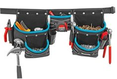 Makita 3 - Pouch Tool Belt Set - New Blue Range Toolbelt set Tool Belt, Work Tools, Makita, Tool Storage, Diaper Bag, Tool Holders, Pouch, Leather, Blue