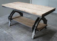 Base de fundición de acero con cubierta y entrepaño en fresno / Steel casting base with ash tabletop & shelf. #vintage #industrial #furniture @ofk_oneofakind