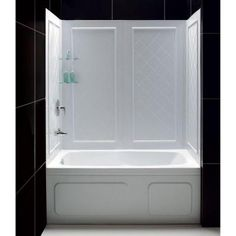 DreamLine QWALL-Tub 28-32 in. D x 56 to 60 in. W x 60 in. H 4-piece Easy Up Adhesive Tub Surround in White-SHBW-1360603-01 at The Home Depot