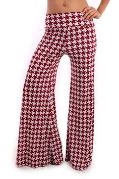 Bama burgundy houndstooth palazzo pants foldover waist Alabama football wear #AppleB #Widelegpalazzos