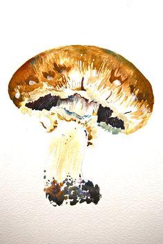 "Watercolor Painting, Original Art, Still Life, Portobello Mushroom, 9""x12"""