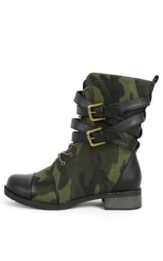 Bamboo Croft-12 Strappy Combat Boots CAMOUFLAGE