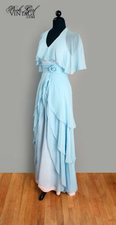 stevie nicks fashions of the 1970's | 1970's Powder Blue Chiffon Stevie Nicks Style Maxi Dress - M :