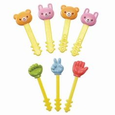 7 pieces of cute bear and rabbit food picks and paper, rock, and scissors food picks, a great accessory to a complete cute lunch or bento box. Japanese Bento Lunch Box, Bento Box Lunch, Bento Food, Easy Meals For Kids, Kids Meals, Bento Recipes, Bento Ideas, Lunchbox Ideas, Food Ideas