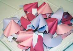 Paper fortune cookies - great idea for Valentine's or anniversary