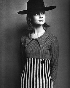goosberrye: Jean Shrimpton wearing a Mary Quant black and white wool day dress Sunday Times 1963 Photo by John French