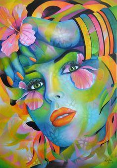 Jeannette Guichard-Bunel (©2014 jeannetteguichardbunel.com) visage de femme avec fleurs