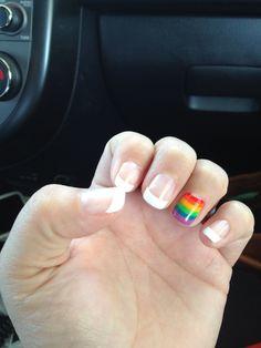 My own PRIDE nails :) 2014 Cincinnati Pride - Nail designs - Nail Dream Nails, Love Nails, How To Do Nails, Bright Nail Designs, Cool Nail Designs, Rainbow Nail Art, Rainbow Makeup, Mens Nails, Bright Red Nails