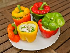 raw soup in bell pepper bowls. Going through some old spelonca posts. Boy, I miss summer!