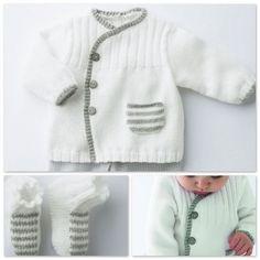 Baby Cardigan, Cardigan Bebe, Cardigan Pattern, Knit Cardigan, Knitting For Kids, Easy Knitting, Baby Knitting Patterns, Pull Bebe, Girl Blog