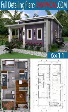 Cheap House Plans, Simple House Plans, Simple House Design, Tiny House Plans, Dream Home Design, Home Design Plans, House Floor Plans, Bungalow House Design, Tiny House Design