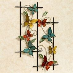 The Butterfly Dance Metal Wall Art displays the flittering beauties as they showcase their colorful wings. Metal wall art has a hand-dyed finish and features. Metal Butterfly Wall Art, Butterfly Wall Decor, Butterfly Decorations, Butterfly Crafts, Flower Crafts, Metal Walls, Metal Wall Art, Diy Wall Art, Wall Art Decor