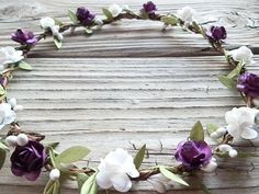 Purple White Flower crown Woodland hair wreath Floral Leaf Natural Flower Crown Halo by theblanketscarf.com $28.00