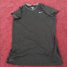 Black Nike Shirt Black Fitted Nike V Neck Workout Shirt Nike Tops Tees - Short Sleeve