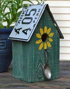 Rustic Birdhouse - Spoon Birdhouse - License Plate Birdhouse - Recycled Birdhouse -License Plates - Primitive Birdhouse - Gardening Go Garden Crafts, Garden Projects, Wood Projects, Garden Ideas, Backyard Ideas, Backyard Decorations, Rustic Backyard, Bird Crafts, Large Backyard