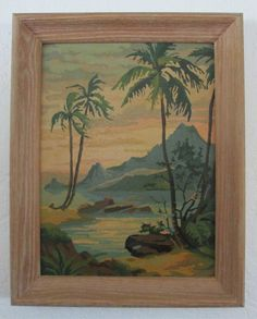 Coral Sunset 29H Tropical Palm Tree Craft Master 1960 Mid Century Vintage Paint by Number PBN Framed Painting AtomicPutz.com