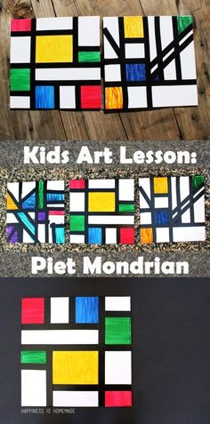 Kids Homeschool Art Lesson: Piet Mondrian This homeschool art lesson teaches you about Dutch modern abstract artist Piet Mondrian and includes a simple kids art activity that's perfect for all ages! Art Lessons For Kids, Art Activities For Kids, Art Lessons Elementary, Preschool Art Lessons, Art For Kindergarteners, Color Art Lessons, Kids Art Class, Painting Activities, Preschool Classroom