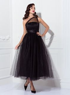 A-Line Princess One Shoulder Ankle Length Tulle Prom Wedding Party Dress with Draping by TS Couture® - USD $99.99 ! HOT Product! A hot product at an incredible low price is now on sale! Come check it out along with other items like this. Get great discounts, earn Rewards and much more each time you shop with us!