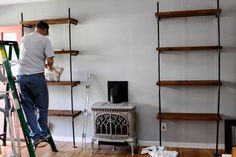 DIY metal pipe bookshelves - want, want, want.