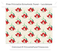FreeEggshell Chevron Large Ariel Pattern Paper - The Little Mermaid
