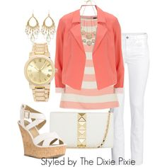 Blazer. Pop of Color. Summer outfits. White jeans. Fashion for women over 40.
