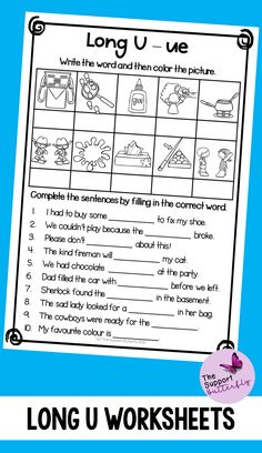 These long vowel worksheets are just what you need for you Kindergarten or First Grade students! These no prep worksheets are perfect for Literacy lessons, Literacy centers or word work. Are you teaching your class about long U sounds - long ew, long ue, long ui and long u with magic e? These printables will be easy to implement and engaging during your spelling or reading lessons. These ready to go worksheets are accessible to all students and are easy to implement. Long Vowel Worksheets, Phonics Worksheets, Phonics Sounds, Vowel Sounds, Long Vowels, Reading Lessons, Word Work, Literacy Centers, First Grade
