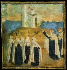 Carmelites On Mount Carmel | Painting of the early hermits on Mount Carmel
