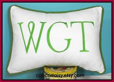 Large Font Monogrammed Personalized Pillow Cover - Lumbar Size 12 x 16. $35.00, via Etsy.