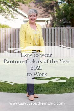 Is the Pantone Color of the Year 2021 too bold for work wear? No. Check out this women's office outfit for a classy way to style and wear illuminating yellow to work. #fashionover40 #workwear Nude Flats, Office Style, Fashion Over 40, Color Of The Year, Office Fashion, Office Outfits, Work Clothes, Pantone Color, Workwear