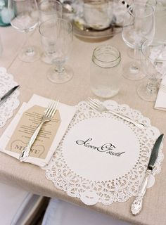 LOVEEEE!!! place setting with no plate                                                                                                                                                     More