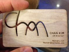 Laser engraved plywood business card! Cascade Laser Awards and Engraving.