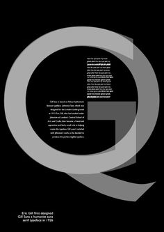Gill Sans. By by Eric Gill in 1928. The overlap of the G and Q; the arrangement of the paragraphs. Makes the whole arrangement look like a clock.