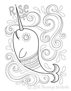 Narwhal Coloring Page From Hipster Book