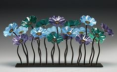 """Topaz Glass Flower Garden"" Art Glass Sculpture by Scott Johnson on Artful Home"