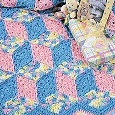Baby Blocks Crochet Afghan Pattern granny tumbling block- free crochet patterns
