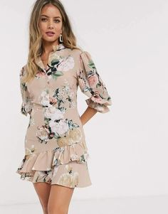 Buy John Zack mini ruffle tea dress in beige floral at ASOS. With free delivery and return options (Ts&Cs apply), online shopping has never been so easy. Get the latest trends with ASOS now. Long Sleeve Smock Dress, Midi Dress With Sleeves, Halter Mini Dress, Pleated Midi Dress, Beige Dresses, Girls Dresses, Women's Dresses, Petite Mini Dresses, Tux Dress