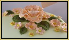 Sugar paste rose and flowers