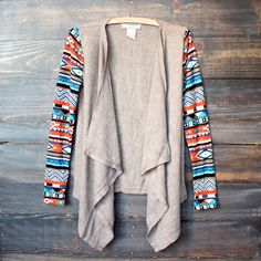womens lightweight open front cascading cardigan with aztec print sleeves - taupe - shophearts - 1