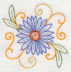 """Aster SquareProduct ID:K4333 Size:3.87""""(w) x 3.88""""(h) (98.3 x 98.5 mm)Color Changes:7 Stitches:7371Colors Used:7"""