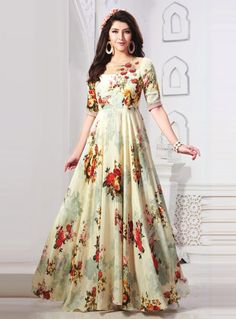 Shop Cream Cotton Readymade Long Gown 139893 online at best price from vast collection of designer gown at Indianclothstore.com. Long Gown Dress, Frock Dress, Saree Dress, Anarkali Gown, Long Dresses, Lehenga, Floral Print Gowns, Printed Gowns, Frock Models