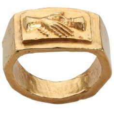 Roman Marriage Ring with Clasped Hands. oman, 3rd century AD. The primary focus of the present ring is the clasped hands motif, an indication that this was a betrothal or wedding ring. A betrothal ring combined the function of our engagement and wedding rings. There is no evidence that a ring had any significance in marriage in the early Near East, and a Greek or Roman origin is probable. This and more rare jewelry for sale on Curatorseye.com.