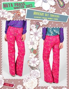 Moonlight-Bay trousers raspberry Bombay Floral
