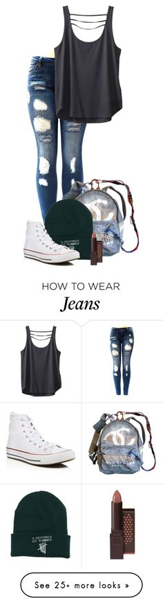 """""""Untitled #44"""" by aliciastylinson on Polyvore featuring Chanel, Burt's Bees, Converse and Kavu"""