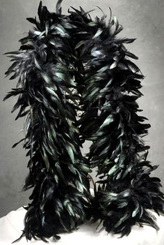 Black Iridescent Coque Feather Boas