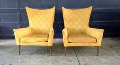 Paul McCobb High Wing Back Lounge Chair Pair Mid Century Modern Marked | eBay