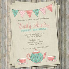 Tea Party Birthday Invitation, Time for tea birthday, little girl birthday Digital Printable File. $13.00, via Etsy.